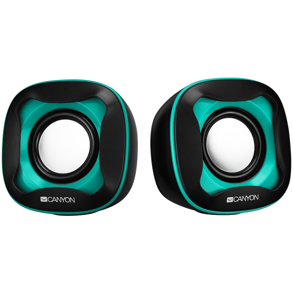USB 2.0 Speaker, black+light blue 7472C, 2*3W 4 Ohm, ABS, 1.2m cable with USB2.0 & 3.5mm audio connector. 0
