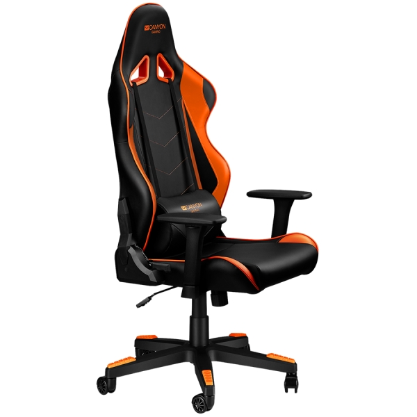 Gaming chair, PU leather, Original foam and Cold molded foam, Metal Frame, Butterfly mechanism, 90-165 dgree, 3D armrest, Class 4 gas lift, Nylon 5 Stars Base, 60mm PU caster, black+Orange. 0