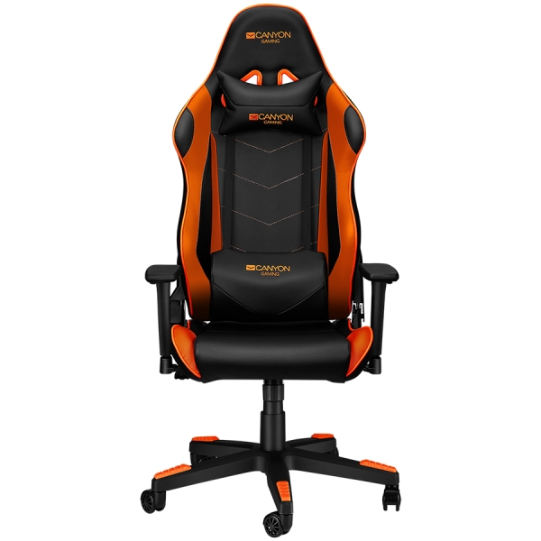 Gaming chair, PU leather, Original foam and Cold molded foam, Metal Frame, Butterfly mechanism, 90-165 dgree, 3D armrest, Class 4 gas lift, Nylon 5 Stars Base, 60mm PU caster, black+Orange. 1