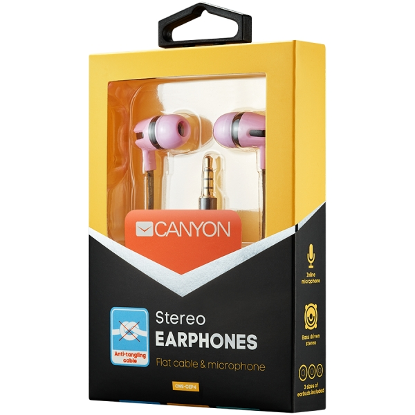 CANYON Stereo earphone with microphone, 1.2m flat cable, Orange, 22*12*12mm, 0.013kg 1