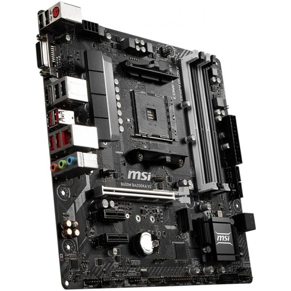 MSI Main Board Desktop B450 (SAM4, 4xDDR4, 1xPCI-Ex16, 2xPCI-Ex1, USB3.1, USB2.0, 4xSATA III, 1xM.2, 7.1Audio, DVI-D, HDMI, GLAN) mATX Retail 0