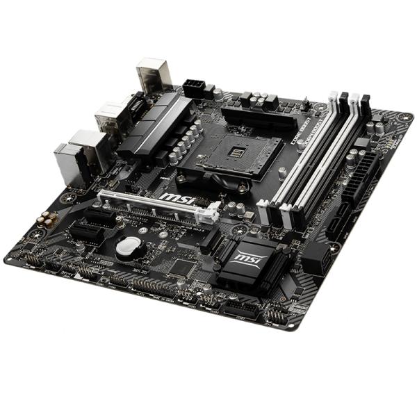 MSI Main Board Desktop B450 (SAM4, 4xDDR4, 1xPCI-Ex16, 2xPCI-Ex1, USB3.1, USB2.0, 4xSATA III, 1xM.2, 7.1Audio, DVI-D, HDMI, GLAN) mATX Retail 1