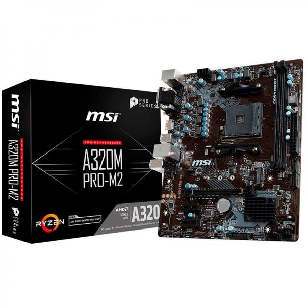 MSI Main Board Desktop A320 (SAM4, 2xDDR4, PCI-Ex16, 2xPCI-Ex1, USB3.1, USB2.0, SATA III, VGA, DVI-D, GLAN) mATX Retail 0