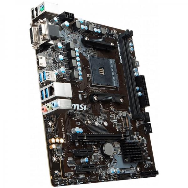 MSI Main Board Desktop A320 (SAM4, 2xDDR4, PCI-Ex16, 2xPCI-Ex1, USB3.1, USB2.0, SATA III, VGA, DVI-D, GLAN) mATX Retail 3