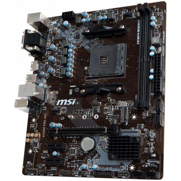 MSI Main Board Desktop A320 (SAM4, 2xDDR4, PCI-Ex16, 2xPCI-Ex1, USB3.1, USB2.0, SATA III, VGA, DVI-D, GLAN) mATX Retail 2