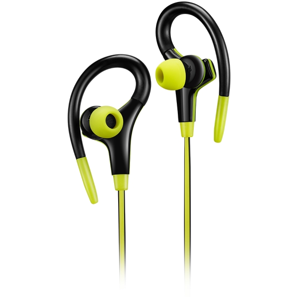 Canyon stereo sport earphones with microphone, 1.2m flat cable, lime 0