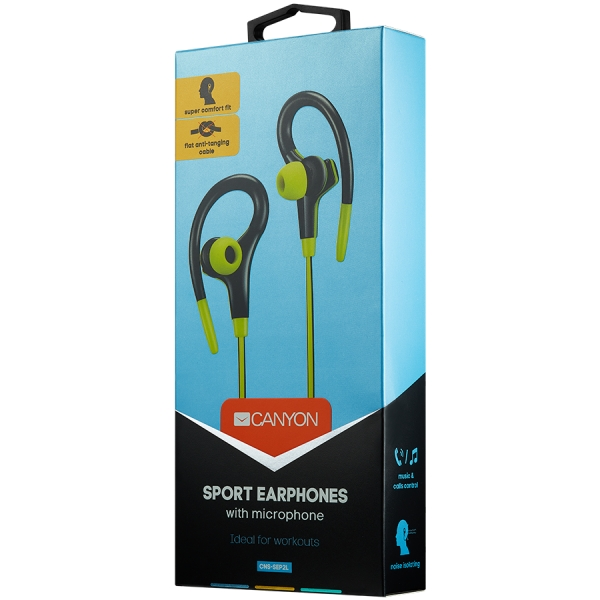 Canyon stereo sport earphones with microphone, 1.2m flat cable, lime 1