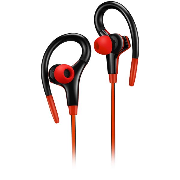 Canyon stereo sport earphones with microphone, 1.2m flat cable, red 0