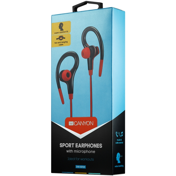 Canyon stereo sport earphones with microphone, 1.2m flat cable, red 1