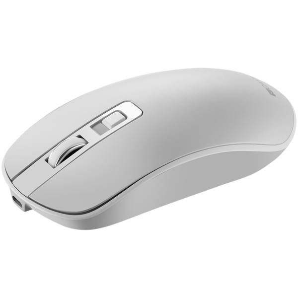 2.4GHz Wireless Rechargeable Mouse with Pixart sensor, 4keys, Silent switch for right/left keys,DPI: 800/1200/1600, Max. usage 50 hours for one time full charged, 300mAh Li-poly battery, Pearl-White,  1