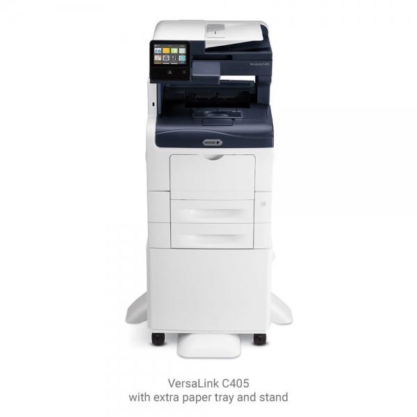 Multifunctional laser color Xerox VersaLink C405V_DN, viteza 35 ppm mono & color, rezolutie 600X600 dpi,Processor 1.05 Ghz Memorie: 2gb, Duplex, ADF 50 coli, recomandat 80000 pag/luna, Conectivitate:  1