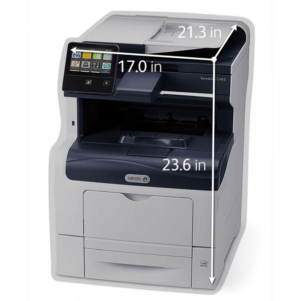 Multifunctional laser color Xerox VersaLink C405V_DN, viteza 35 ppm mono & color, rezolutie 600X600 dpi,Processor 1.05 Ghz Memorie: 2gb, Duplex, ADF 50 coli, recomandat 80000 pag/luna, Conectivitate:  4
