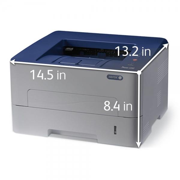 Imprimanta laser mono Xerox Phaser 3260, Viteza 28 ppm, Rezolutie 600x600, Procesor 600 MHz, Memorie 256 MB, Limbaje de printare Emulari PCL 5e si 6, emulare PostScript 3, Alimentare cu hartie 250 col 1