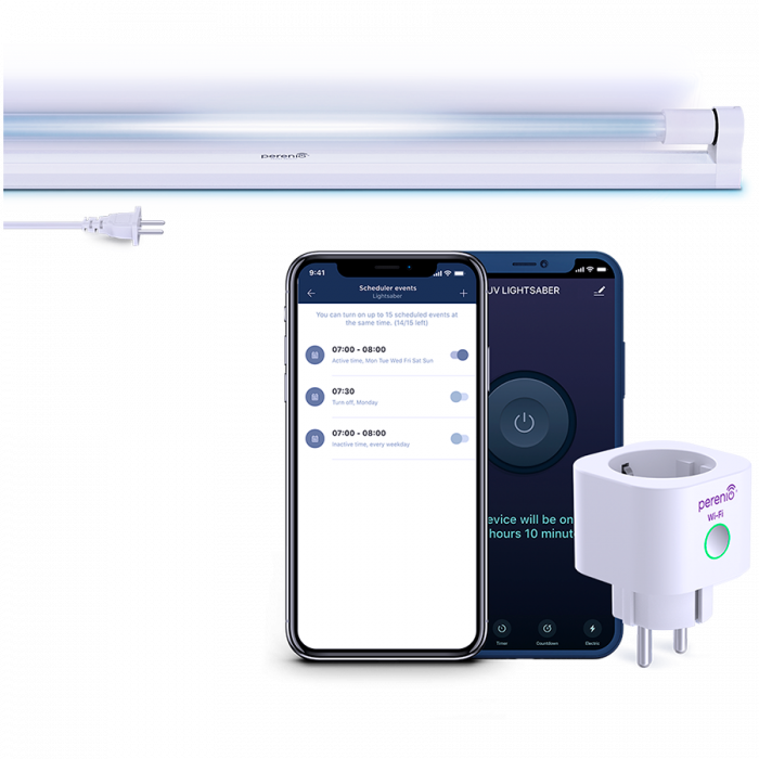 A kit consisting of PEHPL10 Smart Power Plug and PELUV01 UV lamp. Used to desinfect working and residential premises with remote control from Perenio Lite application [0]