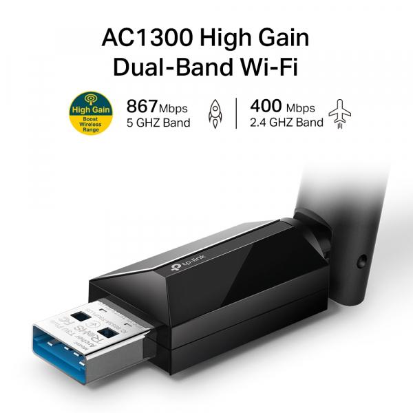 "ADAPTOR RETEA TP-LINK wireless, de la 1 port USB 3.0 la 1 antena externa, 13000Mbps, Dual Band AC1300, 2.4GHz & 5GHz ""Archer T3U Plus"" 2"