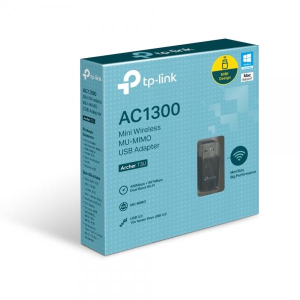 "ADAPTOR RETEA TP-LINK wireless, de la 1 port USB3.0 la 1 antena interna,  1300Mbps, Dual Band AC1300, 2.4GHz & 5GHz, ""Archer T3U"" 1"