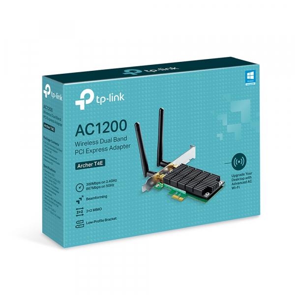 "ADAPTOR RETEA TP-LINK wireless, PCI-Express la 2 antena externa, 1200Mbps, Dual Band AC1200, 2.4GHz & 5GHz, ""Archer T4E"" 2"