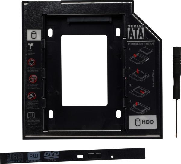 Adaptor SSD pentru CD/DVD Bay, pentru Notebook, Ingust, 9mm, SPR-25DVDI 0