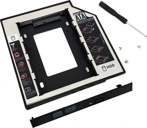 "Adaptor SSD pentru CD/DVD Bay, pentru Notebook, NORMAL, 12mm, ""SPR-25DVDN"" 1"
