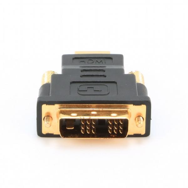 "ADAPTOR video GEMBIRD, HDMI (T) la DVI-D SL (T), conectori auriti, black, ""A-HDMI-DVI-1"" 1"