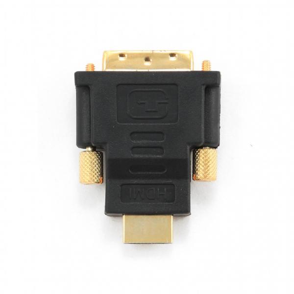 "ADAPTOR video GEMBIRD, HDMI (T) la DVI-D SL (T), conectori auriti, black, ""A-HDMI-DVI-1"" 2"