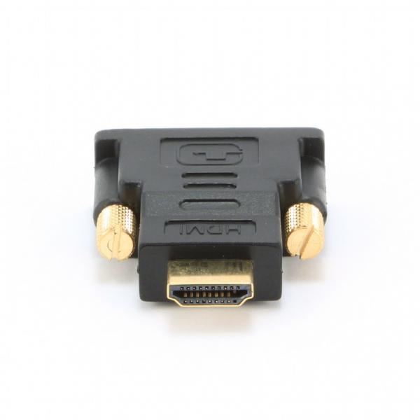 "ADAPTOR video GEMBIRD, HDMI (T) la DVI-D SL (T), conectori auriti, black, ""A-HDMI-DVI-1"" 0"