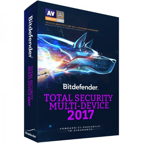 Licenta electronica Antivirus Bitdefender Total Security 2017, 5 PC, 1 an, New license, Retail 0