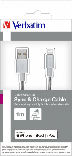 "CABLU alimentare si date VERBATIM, pt. smartphone, USB 2.0 (T) la Lightning (T),  1m, premium, MFi certified, cablu metalic, argintiu, ""48859"" 1"
