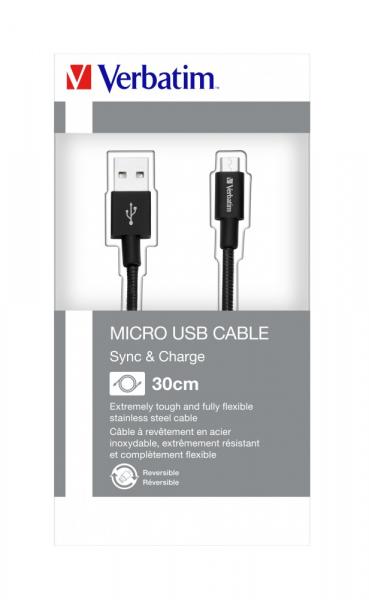 """CABLU alimentare si date VERBATIM, pt. smartphone, USB 2.0 (T) la Micro-USB 2.0 (T),  30cm, premium, MFi certified, cablu metalic, negru, """"48866"""" 3"""