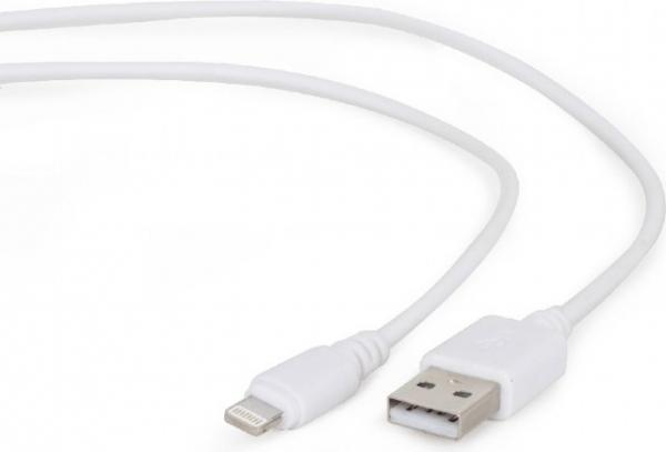 "CABLU   USB2.0 A - Lightning Apple, 2m, bulk, white, Gembird ""CC-USB2-AMLM-2M-W"" 0"