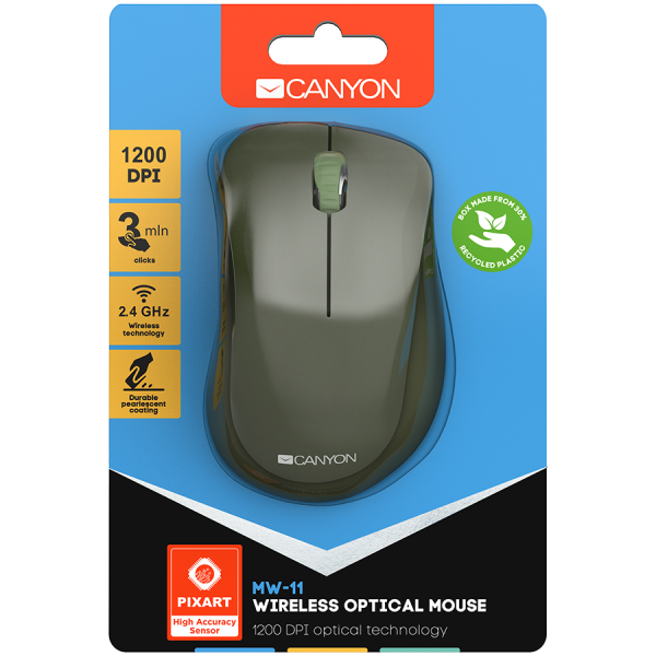 Canyon  2.4 GHz  Wireless mouse ,with 3 buttons, DPI 1200, Battery:AAA*2pcs  ,special military67*109*38mm 0.063kg 3