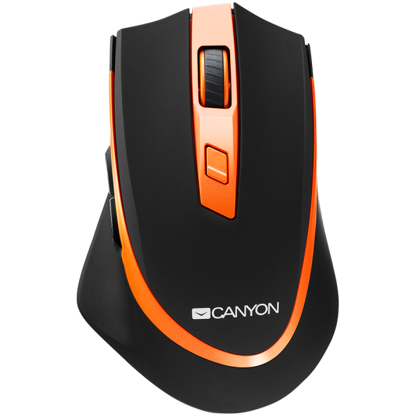 Canyon  2.4 GHz  Wireless mouse ,with 6 buttons, DPI 800/1200/1600/2000/2400, Battery:AAA*2pcs  ,Black-Orange 77.4*120.6*40.5mm 79g, 1