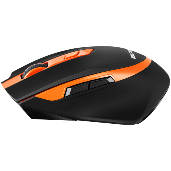 Canyon  2.4 GHz  Wireless mouse ,with 6 buttons, DPI 800/1200/1600/2000/2400, Battery:AAA*2pcs  ,Black-Orange 77.4*120.6*40.5mm 79g, 2