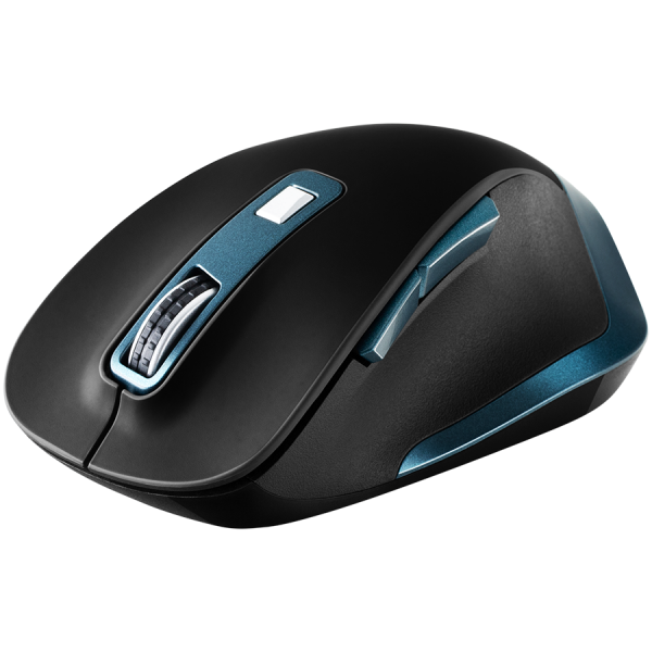 Canyon 2.4Ghz Wireless mouse, with 6 buttons,DPI 800/1200/1600/2000/2400,Battery:AAA*2 pcs , Black-blue 119.6*81.1*43.3mm86.8g 0