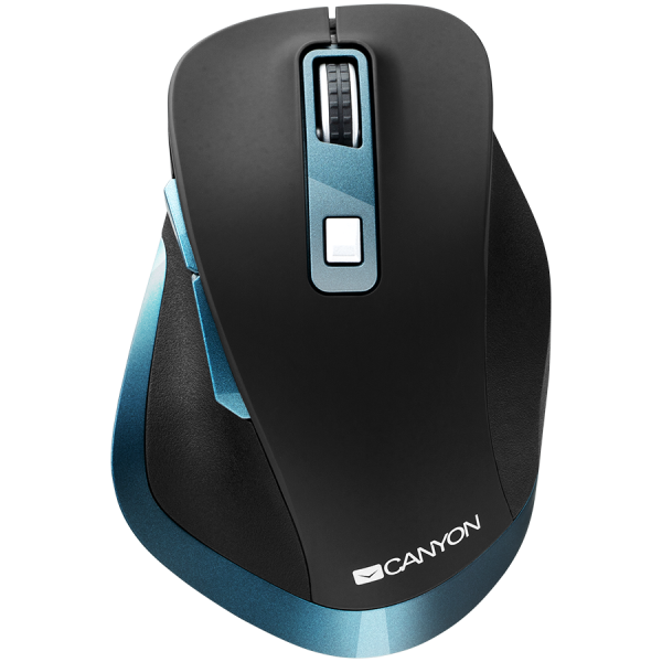 Canyon 2.4Ghz Wireless mouse, with 6 buttons,DPI 800/1200/1600/2000/2400,Battery:AAA*2 pcs , Black-blue 119.6*81.1*43.3mm86.8g 1