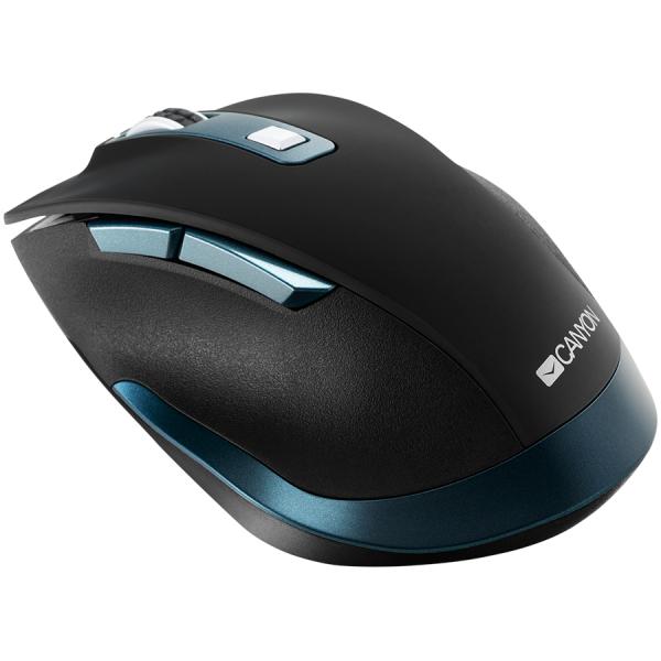 Canyon 2.4Ghz Wireless mouse, with 6 buttons,DPI 800/1200/1600/2000/2400,Battery:AAA*2 pcs , Black-blue 119.6*81.1*43.3mm86.8g 3