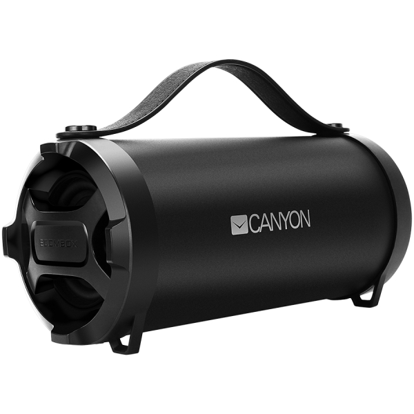Canyon Bluetooth Speaker, BT V4.2, Jieli AC6905A, TF card support, 3.5mm AUX, micro-USB port, 1500mAh polymer battery, Black, cable length 0.6m, 242*118*118mm, 0.834kg [1]