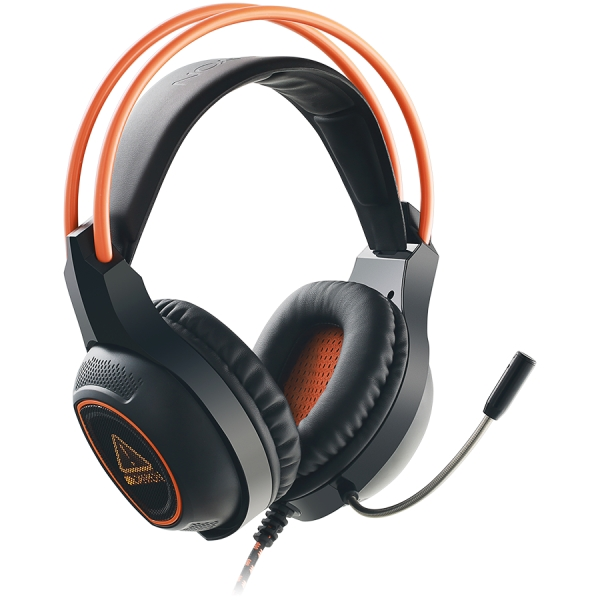 Canyon Gaming headset with 7.1 USB connector, adjustable volume control, orange LED backlight, cable length 2m, Black, 182*90*231mm, 0.336kg 0