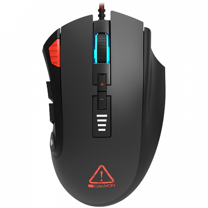 CANYON,Gaming Mouse with 12 programmable buttons, Sunplus 6662 optical sensor, 6 levels of DPI and up to 5000, 10 million times key life, 1.8m Braided cable, UPE feet and colorful RGB lights, Black, s [0]