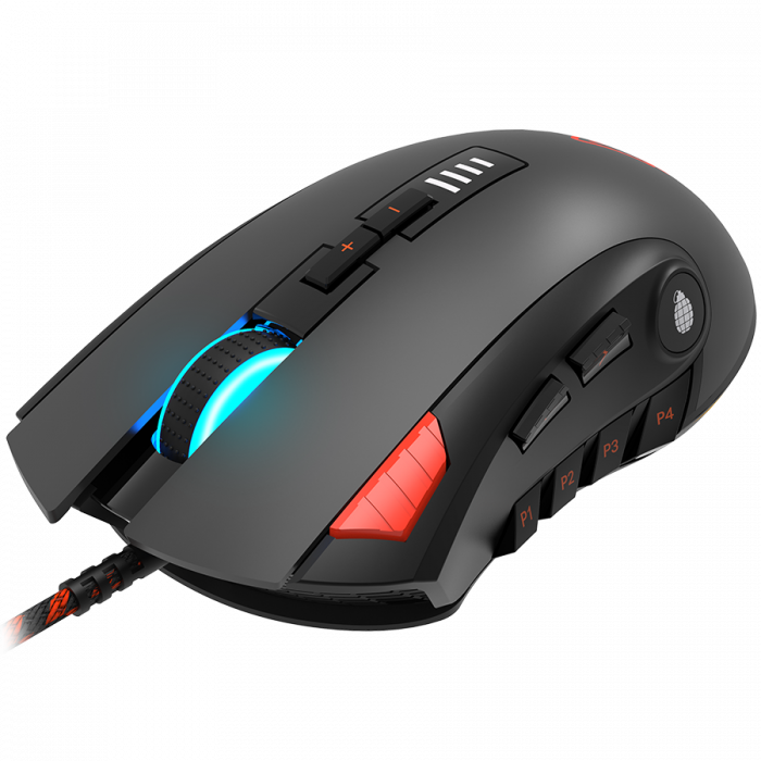 CANYON,Gaming Mouse with 12 programmable buttons, Sunplus 6662 optical sensor, 6 levels of DPI and up to 5000, 10 million times key life, 1.8m Braided cable, UPE feet and colorful RGB lights, Black, s [2]