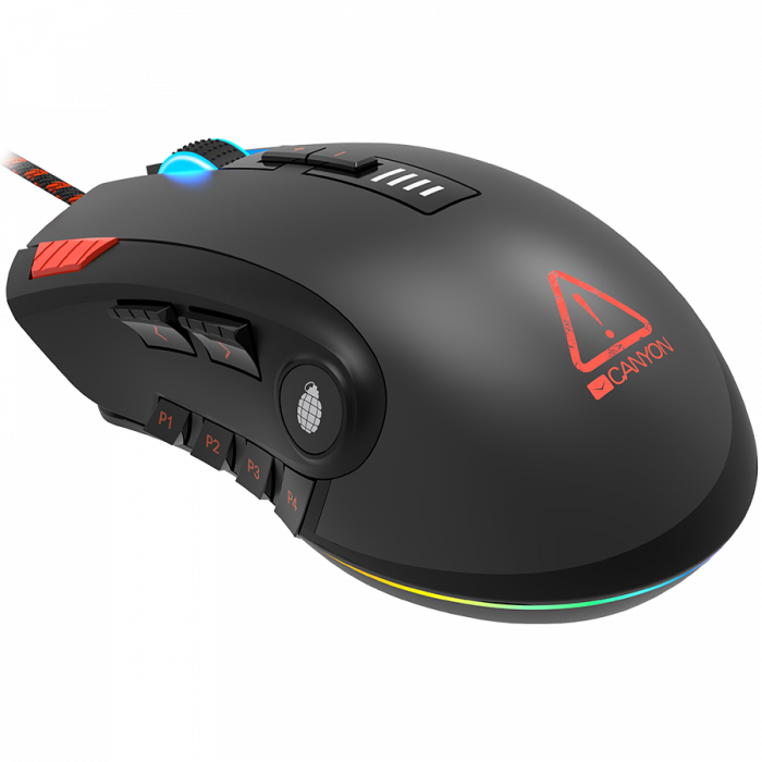 CANYON,Gaming Mouse with 12 programmable buttons, Sunplus 6662 optical sensor, 6 levels of DPI and up to 5000, 10 million times key life, 1.8m Braided cable, UPE feet and colorful RGB lights, Black, s [3]