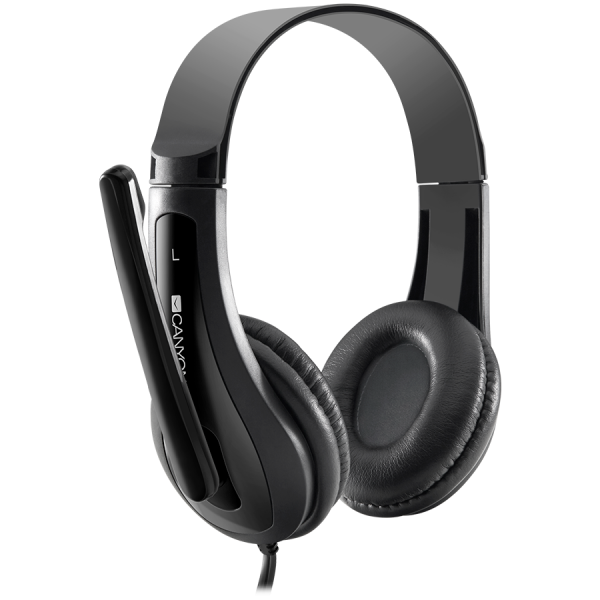 CANYON HSC-1 basic PC headset with microphone, combined 3.5mm plug, leather pads, Flat cable length 2.0m, 160*60*160mm, 0.13kg, Black 2