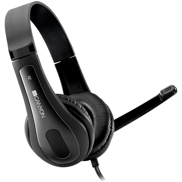 CANYON HSC-1 basic PC headset with microphone, combined 3.5mm plug, leather pads, Flat cable length 2.0m, 160*60*160mm, 0.13kg, Black 0
