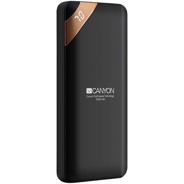 CANYON Power bank 10000mAh Li-poly battery, Input 5V/2A, Output 5V/2.1A(Max), with Smart IC and power display, Black, USB cable length 0.25m, 137*67*13mm, 0.230Kg 0