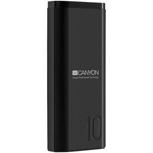 CANYON Power bank 10000mAh Li-poly battery, Input 5V/2A, Output 5V/2.1A, with Smart IC, Black, USB cable length 0.25m, 120*52*22mm, 0.210Kg 0
