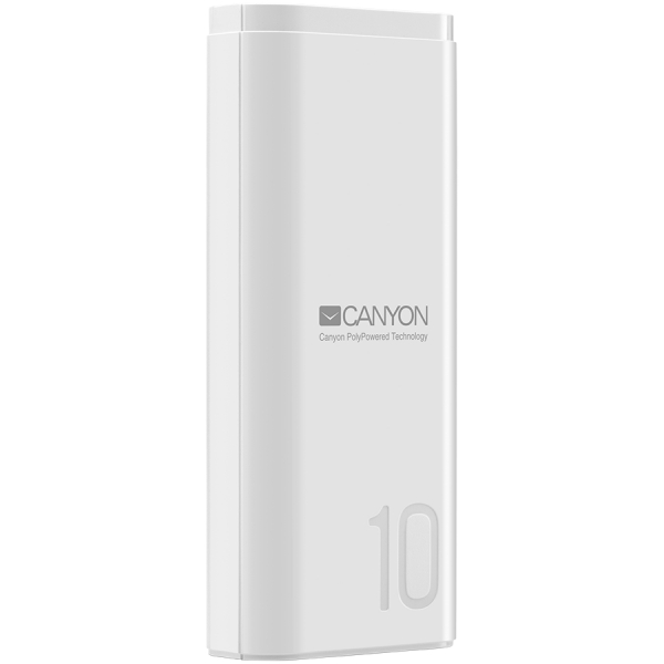CANYON Power bank 10000mAh Li-poly battery, Input 5V/2A, Output 5V/2.1A, with Smart IC, White, USB cable length 0.25m, 120*52*22mm, 0.210Kg 0