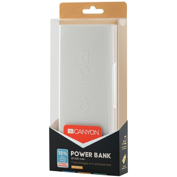 CANYON Power bank 20000mAh built-in 18650 Lithium-ion battery, max output 5V2.4A, input 5V2A, White, Micro USB cable length 0.25m, 161*81*22mm.0.474Kg 2