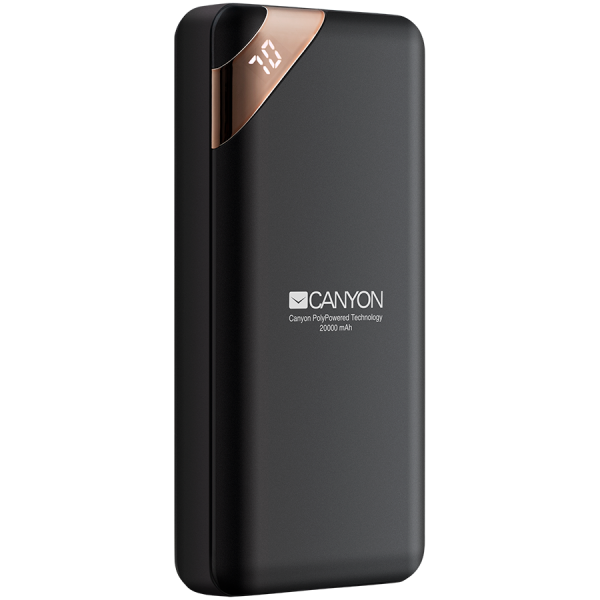 CANYON Power bank 20000mAh  Li-poly battery, Input 5V/2A, Output 5V/2.1A(Max), with Smart IC and power display, Black, USB cable length 0.25m, 137*67*25mm, 0.360Kg 0