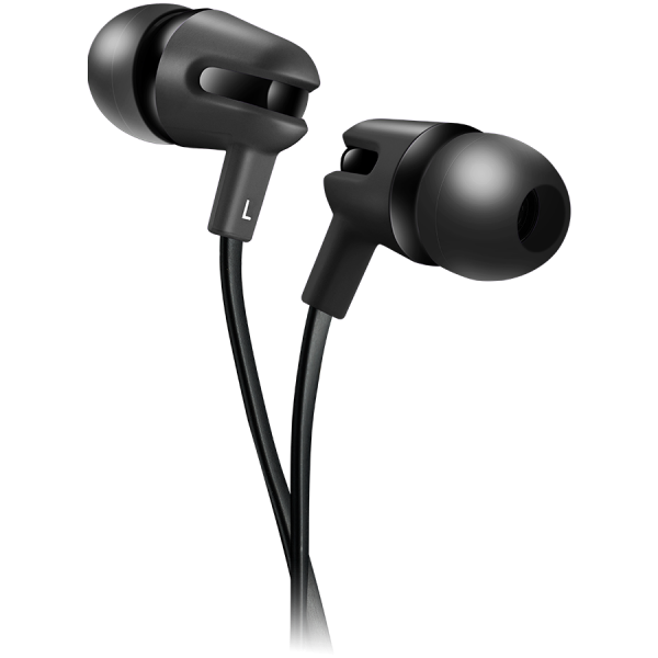 CANYON Stereo earphone with microphone, 1.2m flat cable, Black, 22*12*12mm, 0.013kg [0]