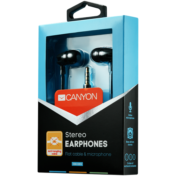 CANYON Stereo earphone with microphone, 1.2m flat cable, Black, 22*12*12mm, 0.013kg [2]